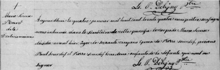 Burial record of Marie Louise Picard dite Destroismaisons