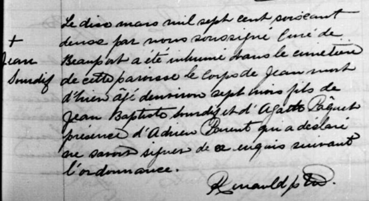 Burial record for Jean Sourdif