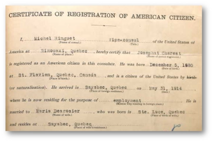 Certificate of registration of American citizen