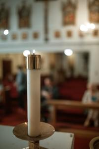 Worship Candle on the altar with blurred background