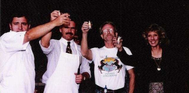 """Tomasz Skotniki, George Z, Pete West, and Heidi say """"Na zdrowie"""" – Korona Celebration, 1994."""