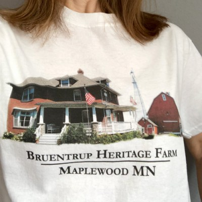 white t shirt with color photo of bruentrup heritage farm