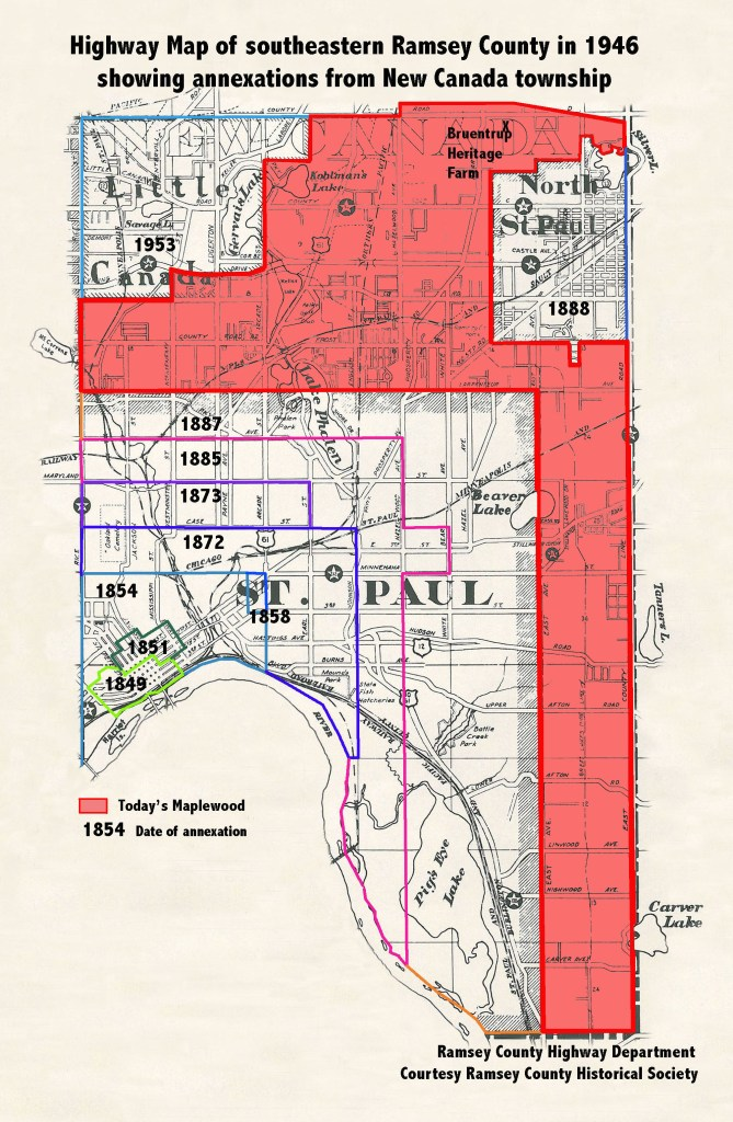 McLean and New Canada township showing annexations by St. Paul, Little Canada and North St. Paul