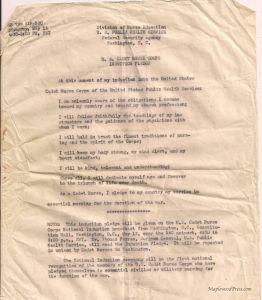 Actual Copy of the Induction Ceremony: US Cadet Nurse Corps