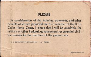 Back of the US Cadet Nurse Corps Membership Card