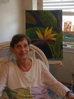 Maplewoos Senior Living Resident, JJ, with her painting