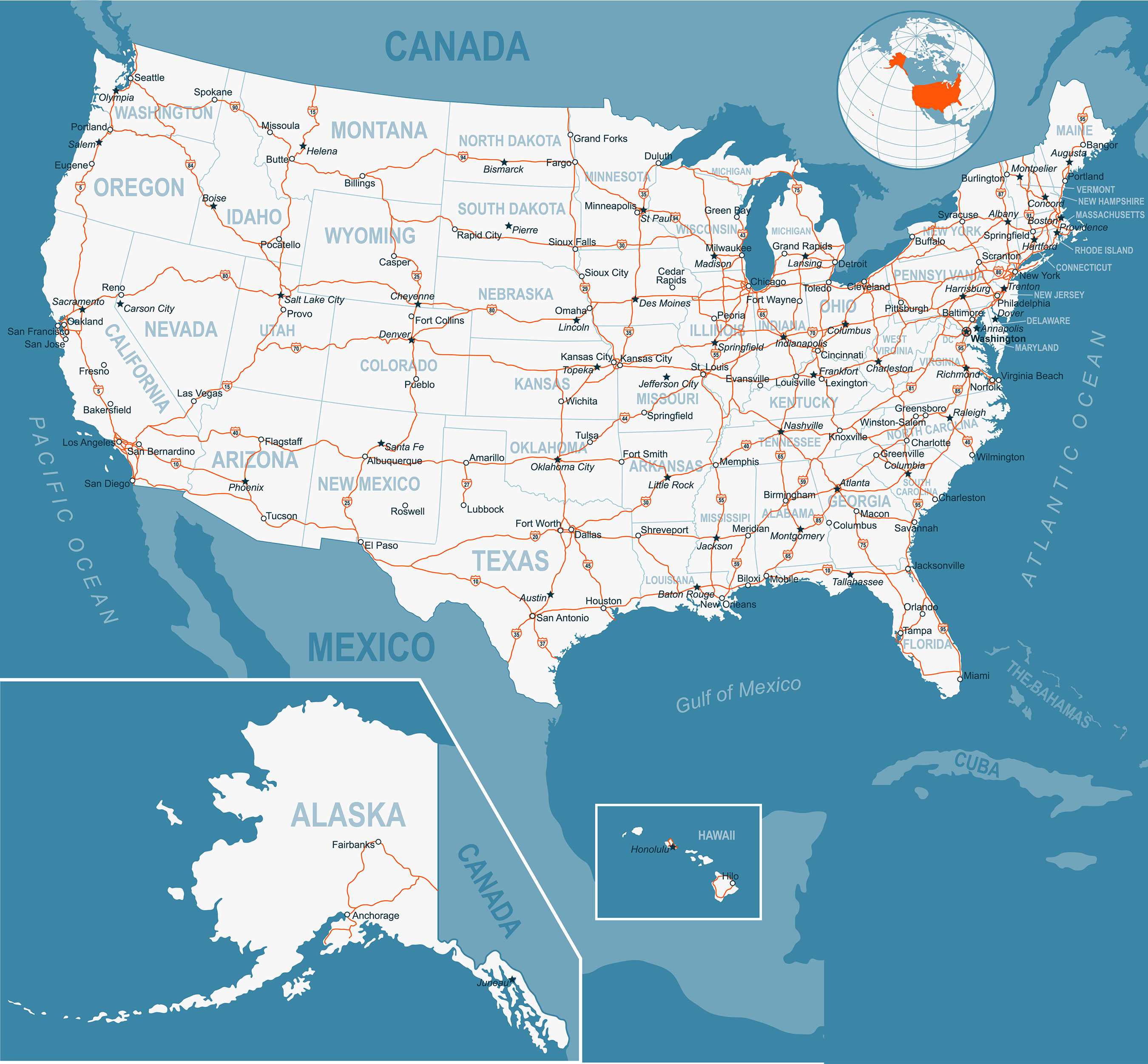 road map of usa