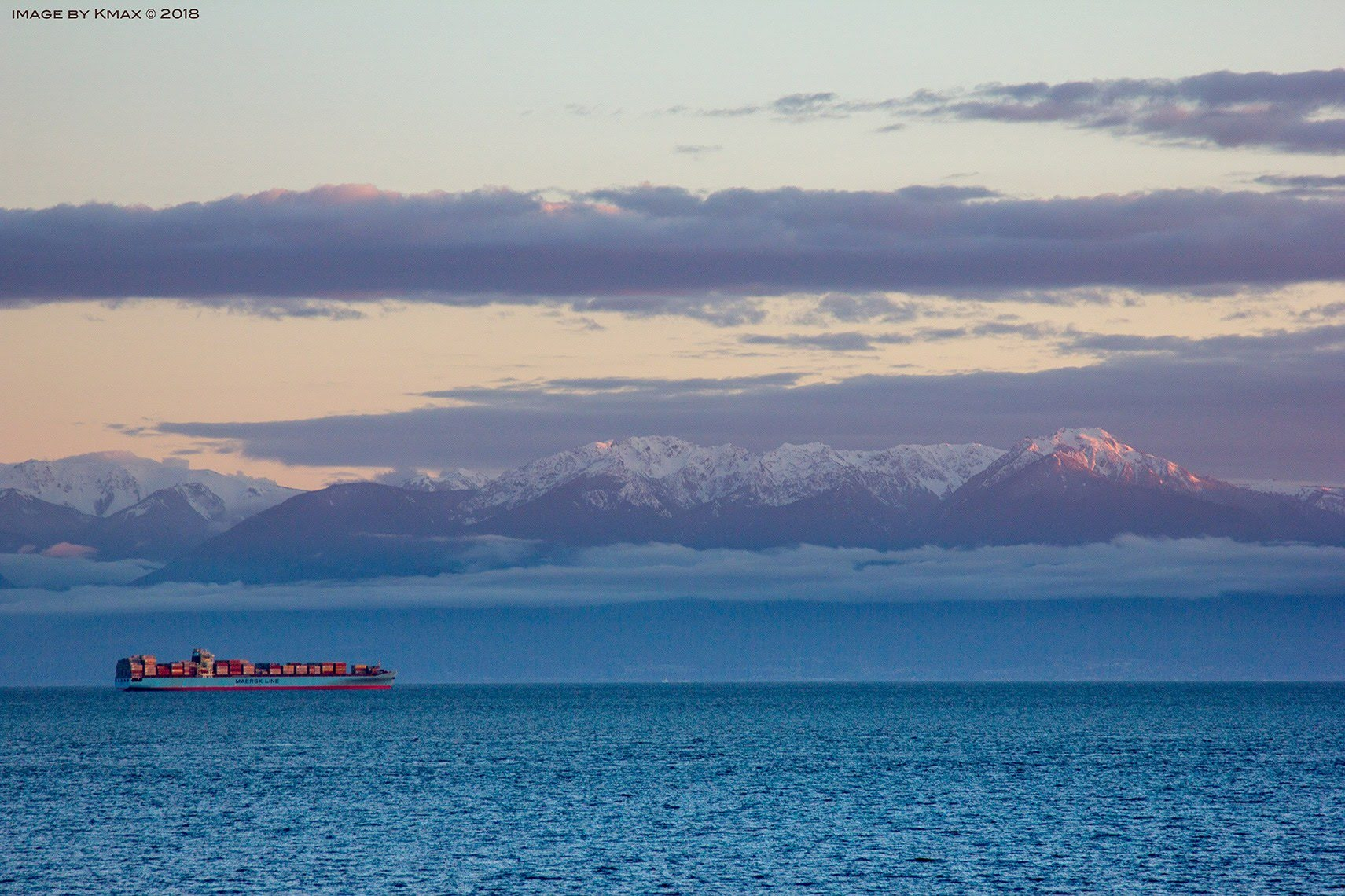 Freighters and Mountains - Victoria BC Canada