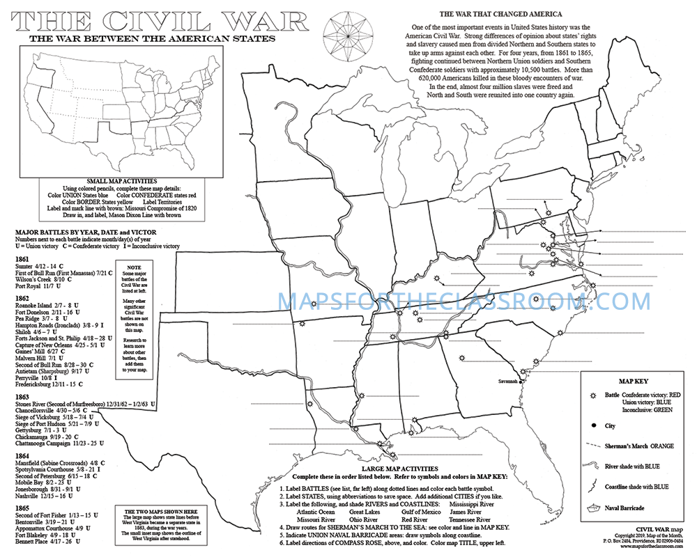 medium resolution of Civil War Map - Maps for the Classroom