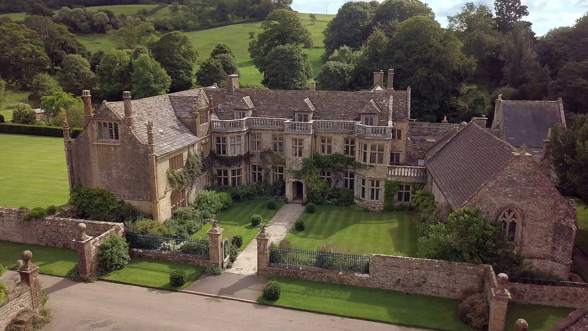 Mapperton House aerial view - wedding venue in Dorset - photograph by Linus Moran