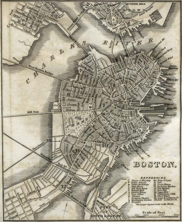 Antique map of Boston from 1842 boston massachusetts