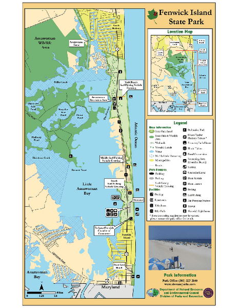 First Landing State Park Map Pdf : first, landing, state, Fenwick, Island, State, Deleware, Mappery