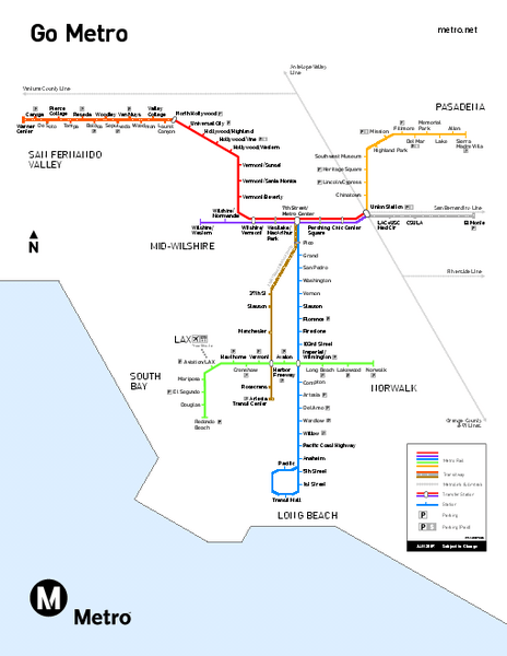 Los Angeles Metrolink Map : angeles, metrolink, Angeles, Metro, System, Mappery