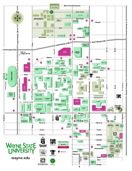 Wayne State University Campus Map : wayne, state, university, campus, Wayne, State, University, Mappery