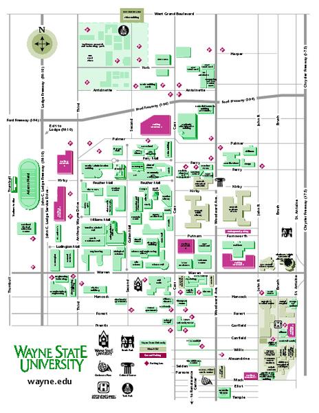 Wayne State University Campus Map : wayne, state, university, campus, Wayne, State, University, Detroit, Michigan, Mappery