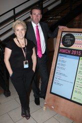 Angela Dorgan (FMC) and Minister of State at the Department of Justice and Equality and Arts, Heritage and the Gaeltacht Aodhán Ó Ríordáin at the Hard Working Class Heroes Convention 2015 in the NDRC at the Digital Hub, Dublin Photography courtesy of HWCH 2015 (c)