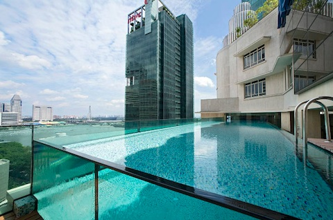 Ascott raffles place hotel and serviced apartments in - Singapore famous hotel swimming pool ...