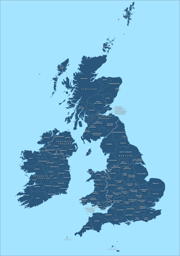 County map of Britain and Ireland royalty free vector