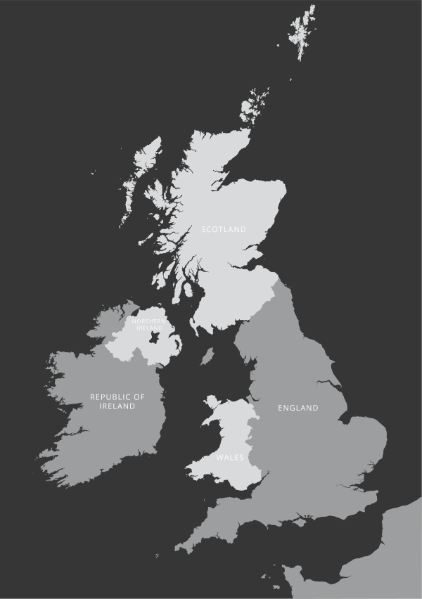 British Isles outline map royalty free editable vector