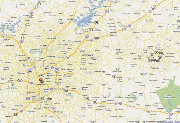Atlanta ga map Map of Atlanta ga United States of America