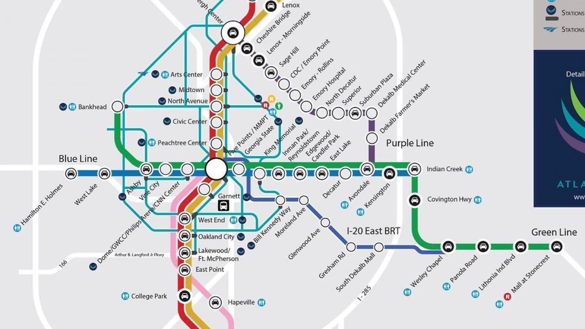 MARTA station map - MARTA train station map (United States of America)