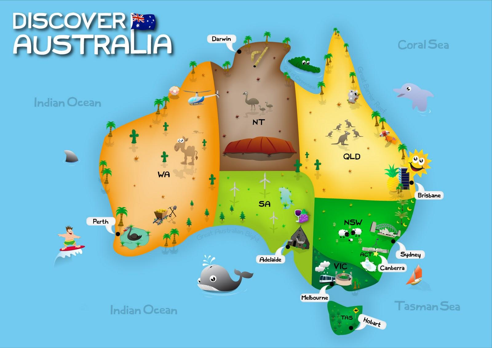Australia Map For Kids