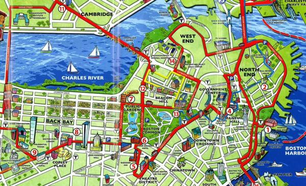 Boston tourist map Tourist map of Boston United States