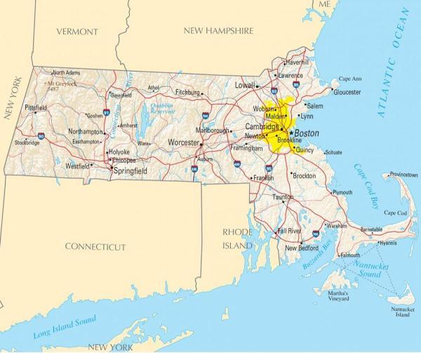 Boston america map Map of Boston usa United States of
