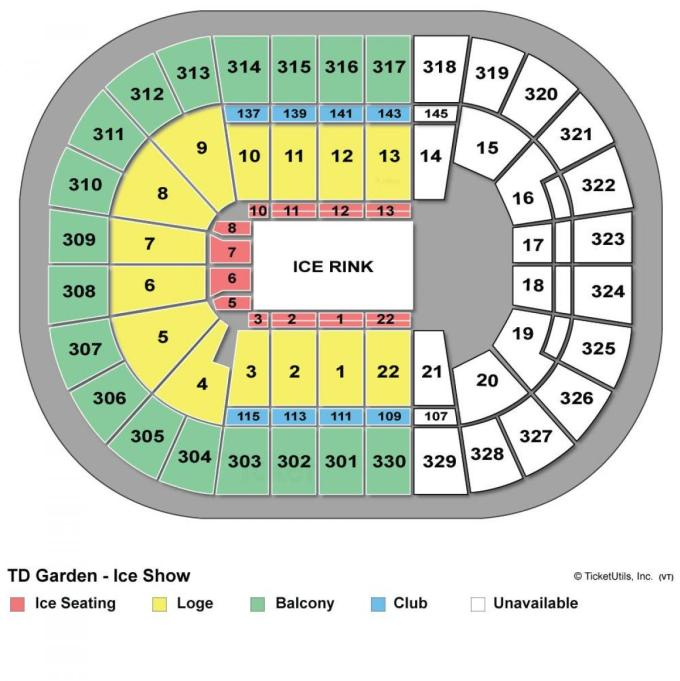 Td banknorth garden seating chart disney ice for Td garden seating chart with seat numbers