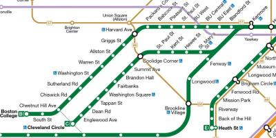 Boston Green Line Map MBTA Green Line Map United States