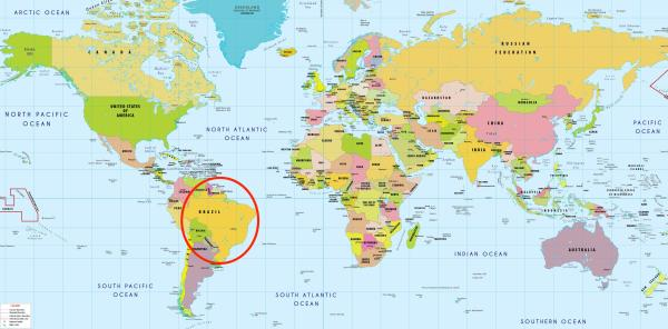 Brazil world map Brazil in world map South America