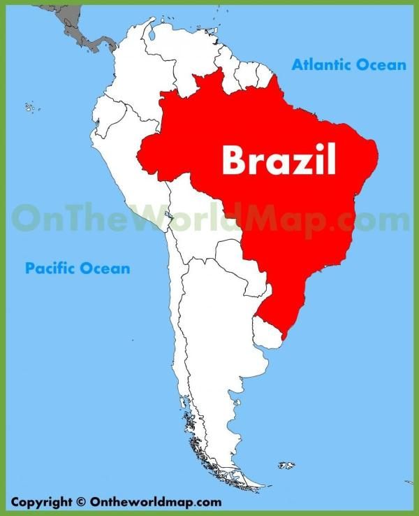 Map Brazil Map with Brazil South America Americas