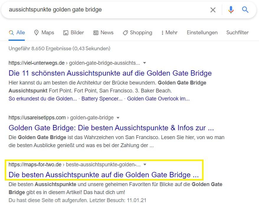 Aussichtspunkte Golden Gate Bridge Ranking Google für Kooperation