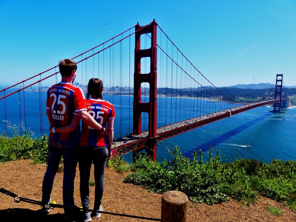 Golden Gate Bridge Pärchen Aussicht auf San Francisco Kooperation