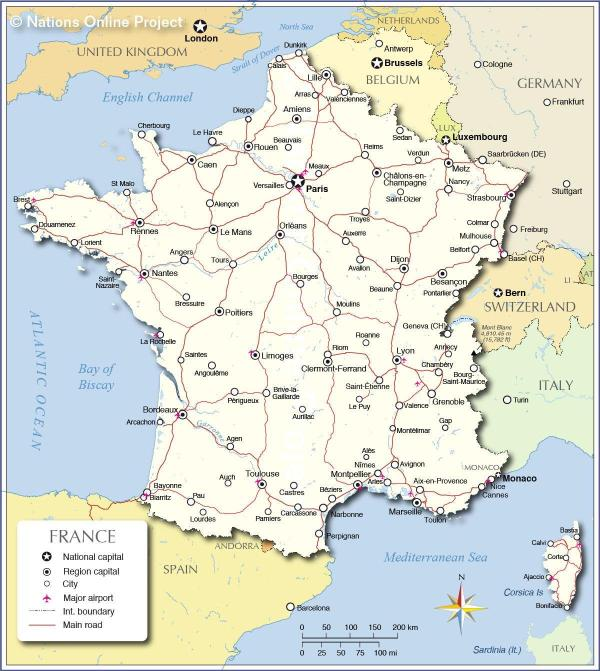 Map of France Show me a map of France Western Europe