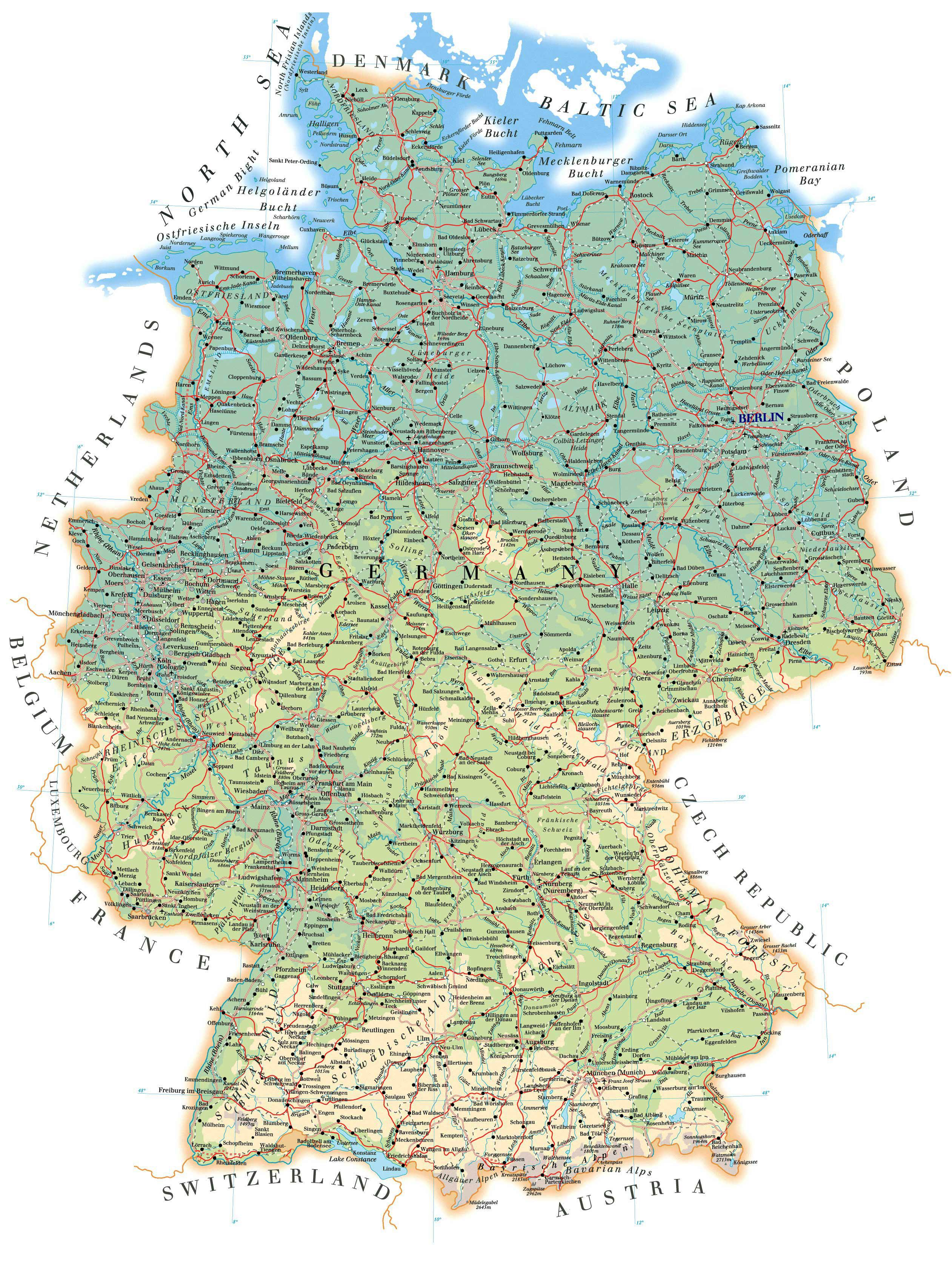 Detailed Map Of Germany Labeled Map Of Germany Western Europe Europe