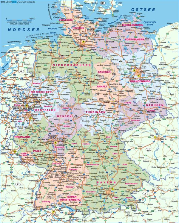 Germany map Show me a map of Germany Western Europe