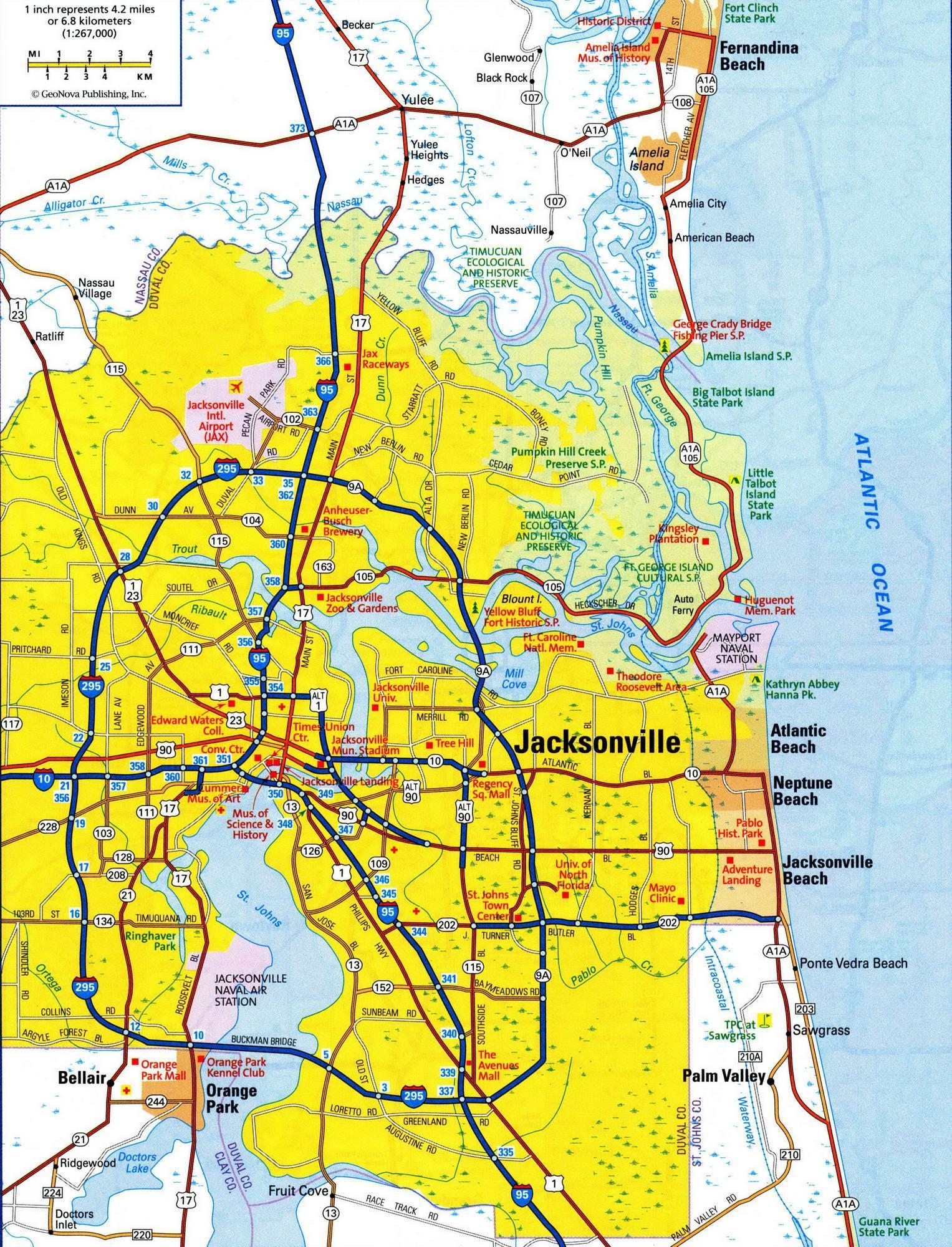 Jacksonville FL area map - Jacksonville Florida area map ...
