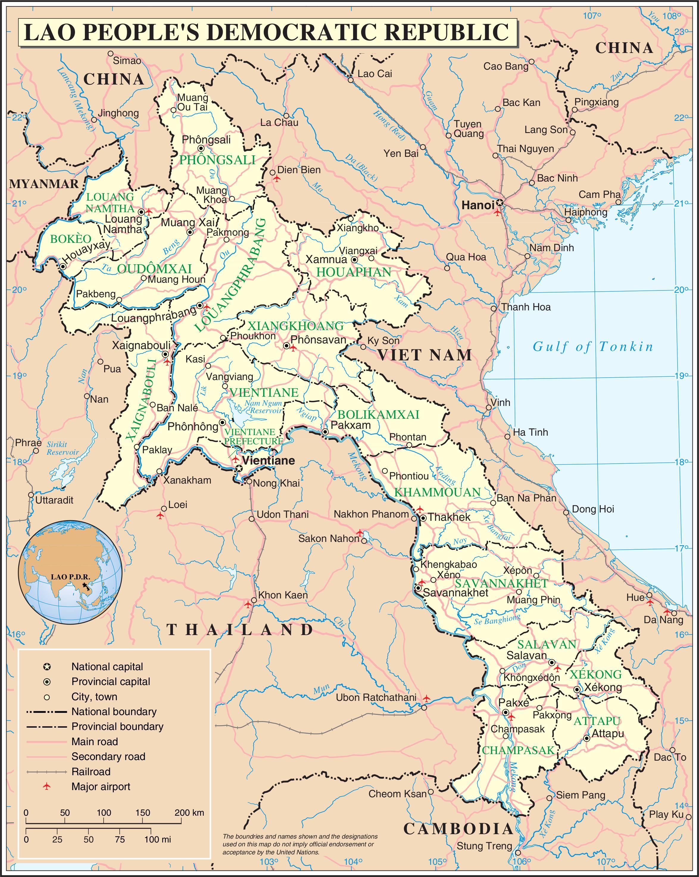 laos road map map