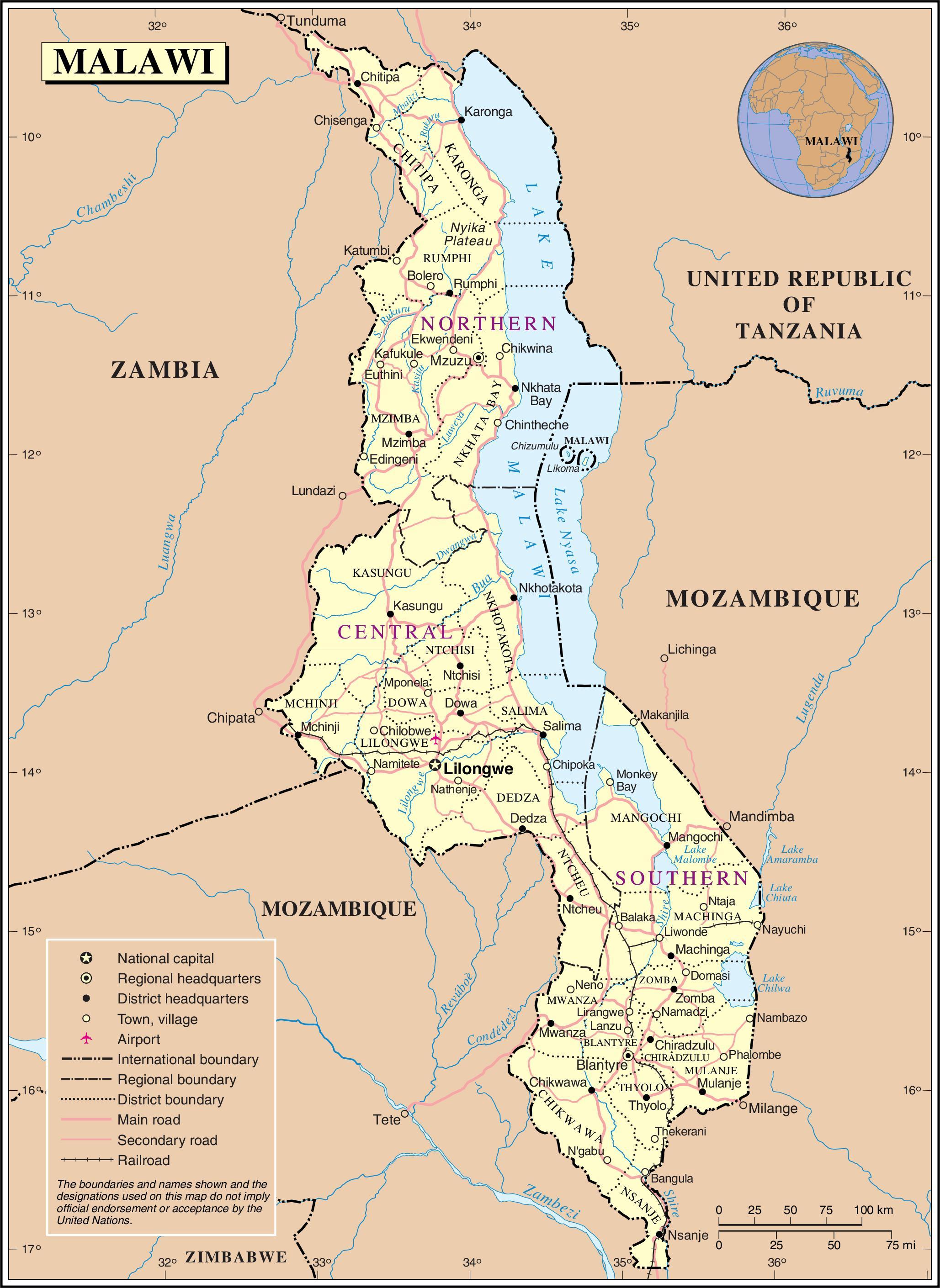 malawi road map map