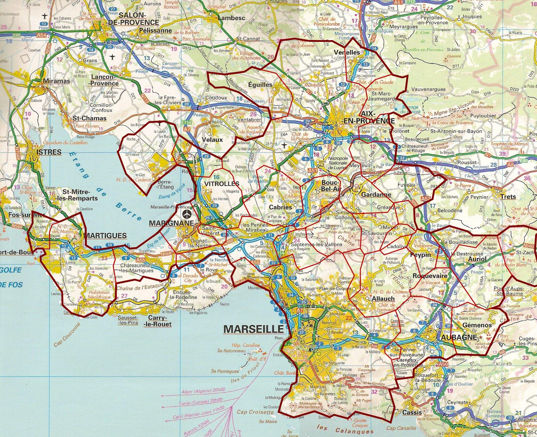 Marseille road map - Map of Marseille road (Provence-Alpes-Côte d'Azur - France)