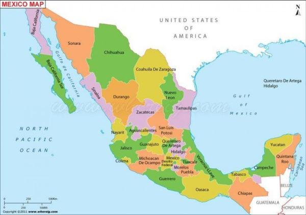 Mexico map states Map Mexico states Central America