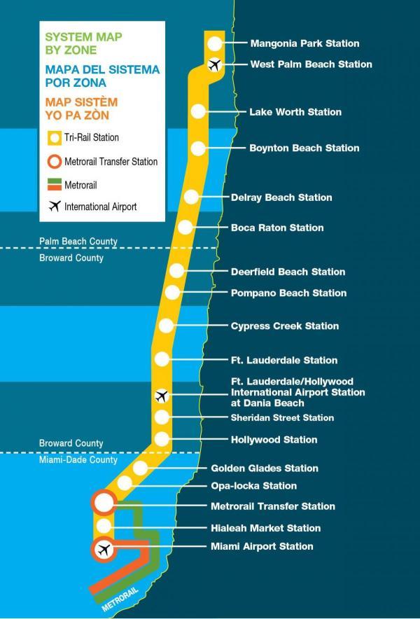 TRI rail map Miami TRI rail map Florida USA