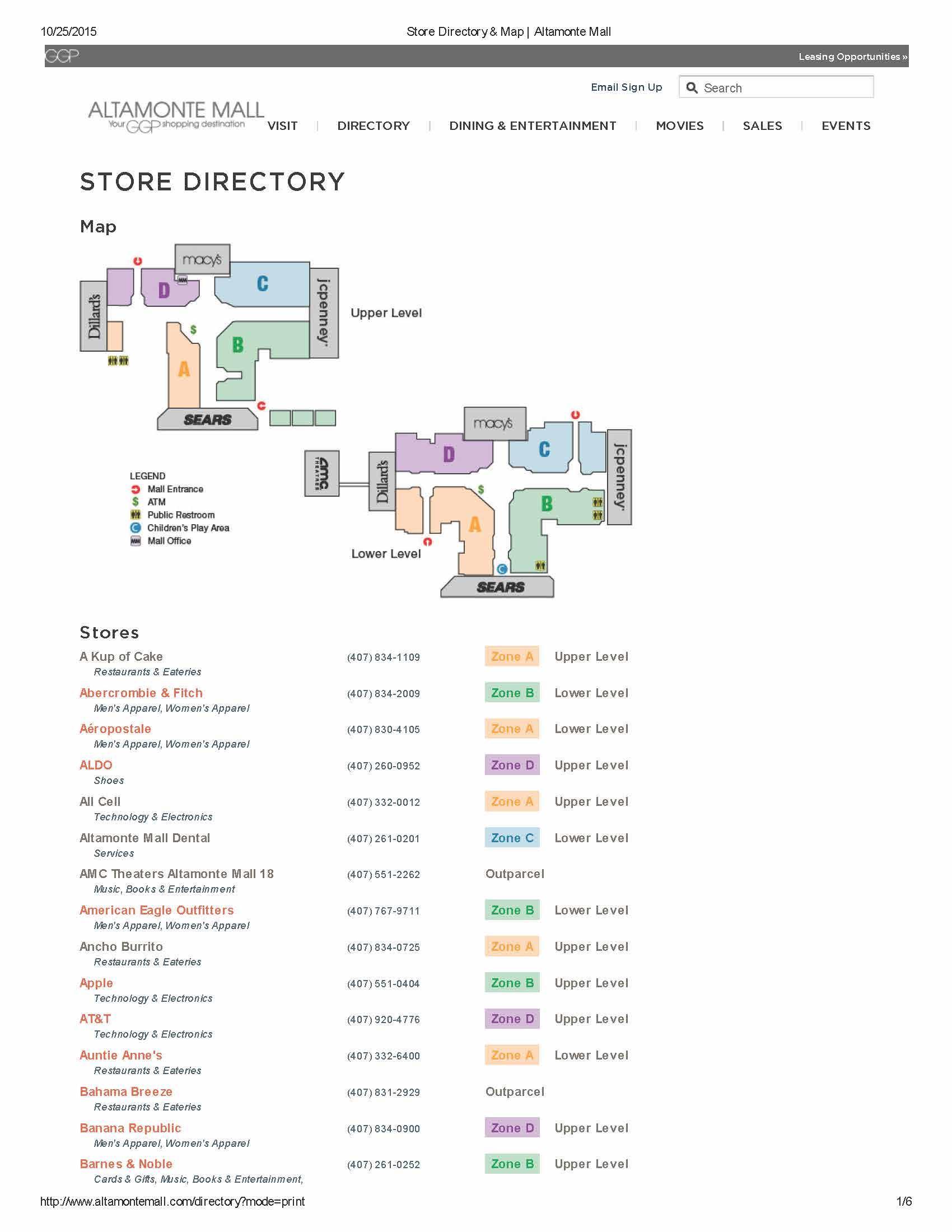 Map Of Florida Mall.Orlando Florida Mall Map