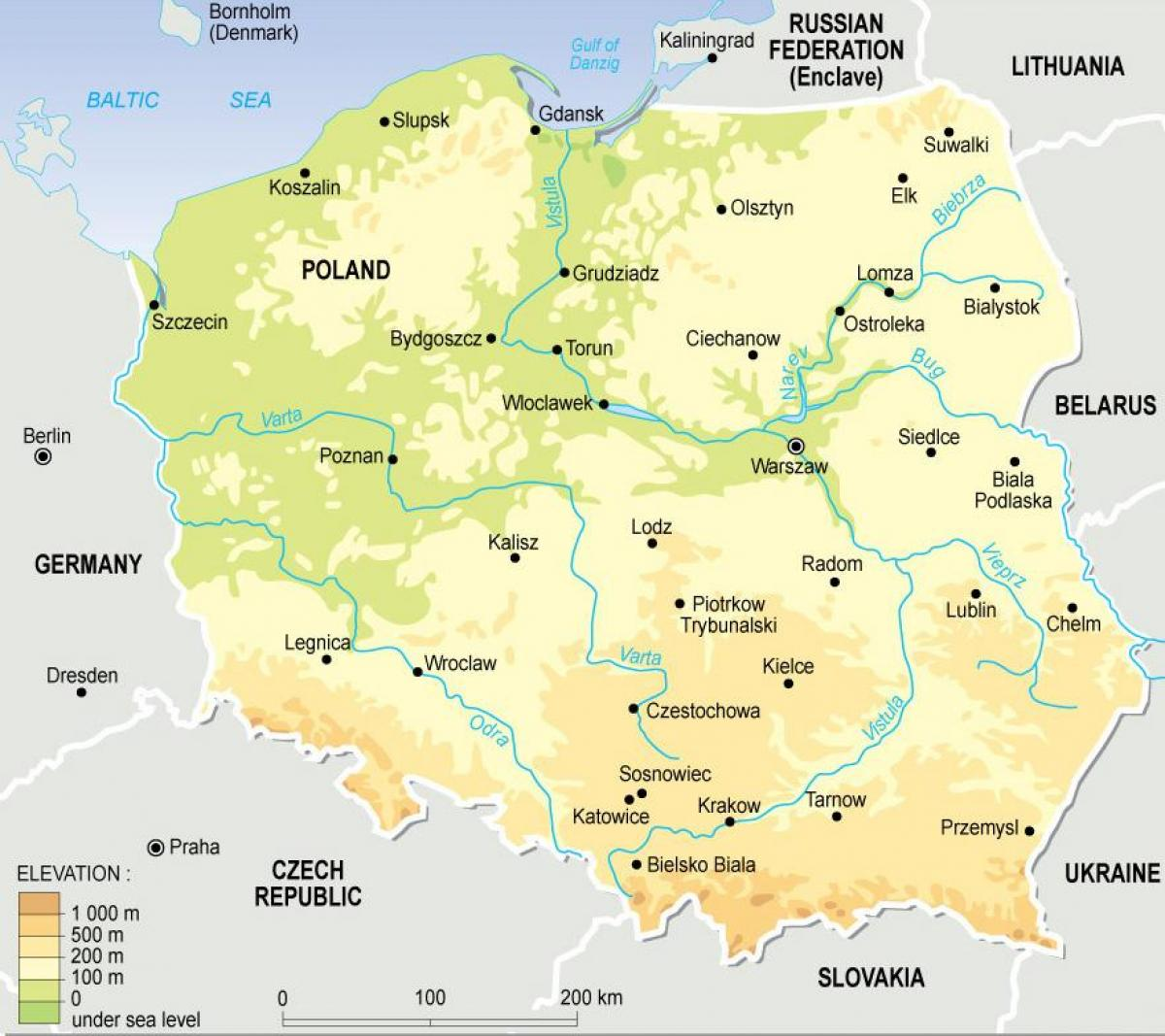 Poland Topographic Map