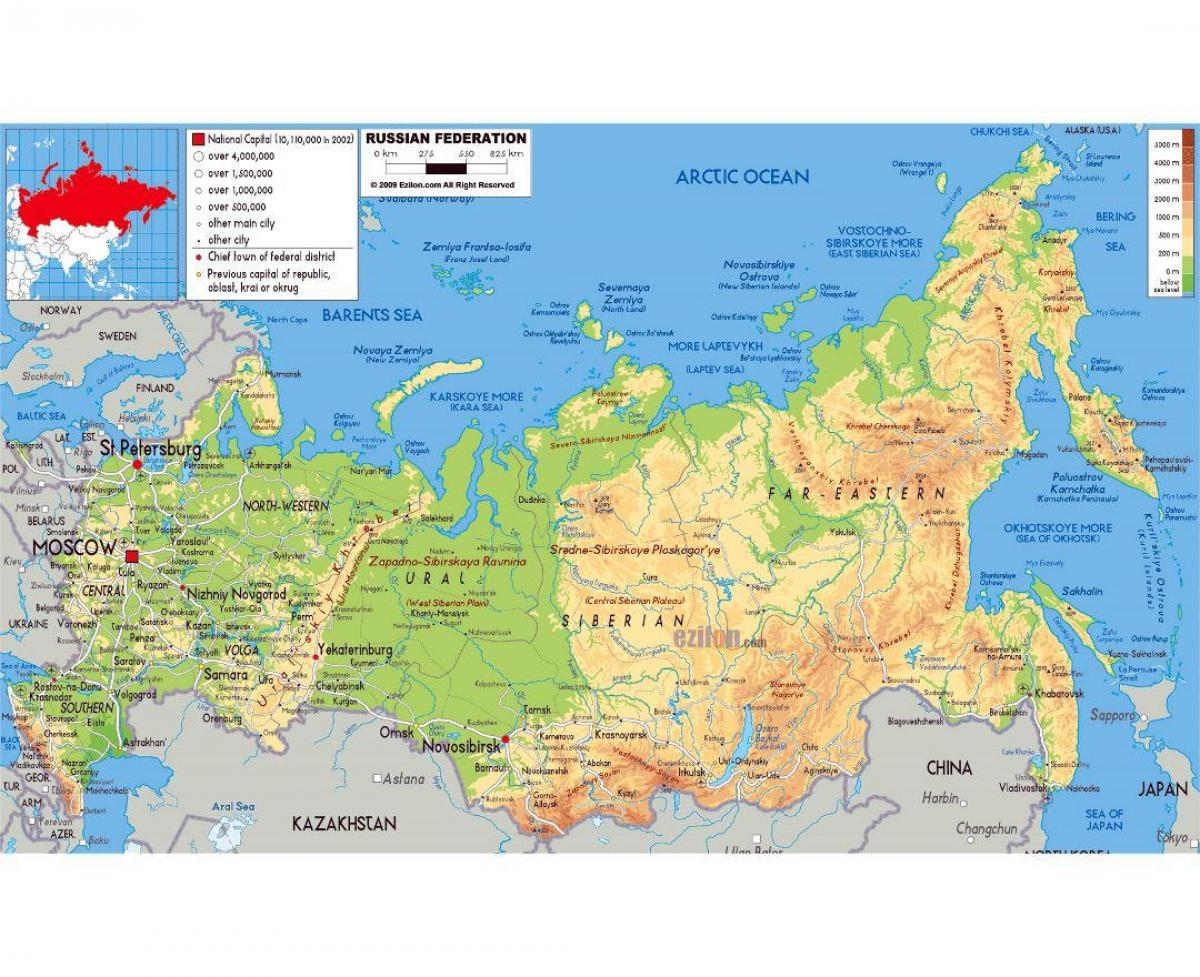 Russia And The Republics Physical Map