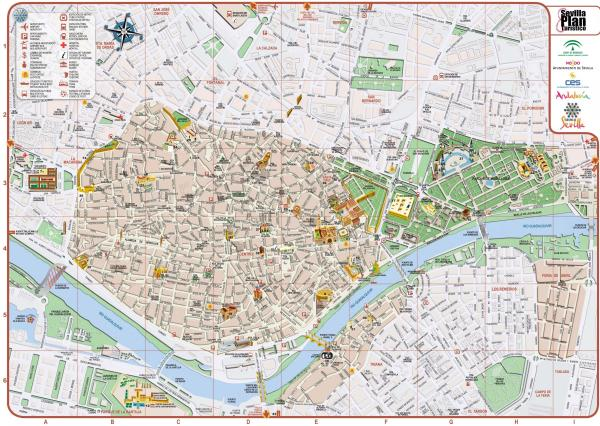 Seville city map City map of Seville spain Andalusia Spain