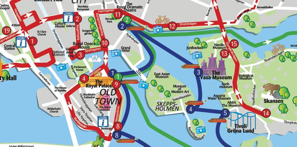 Stockholm tour map - Stockholm points of interest map (Södermanland and Uppland - Sweden)