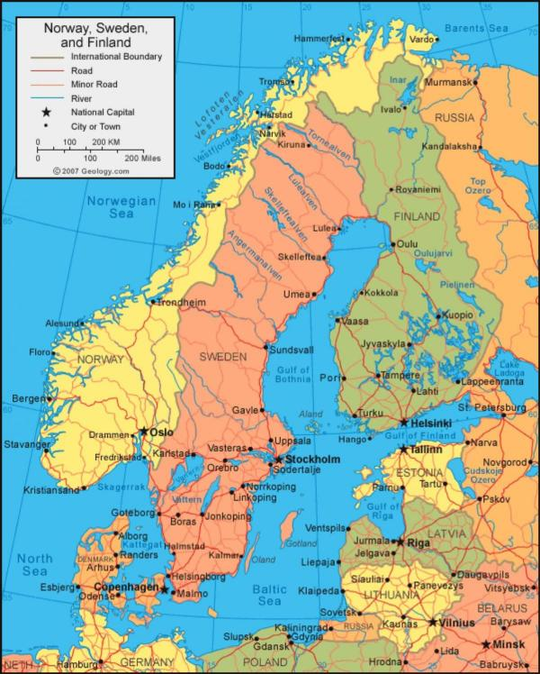 Sweden on map Swedish map Northern Europe Europe
