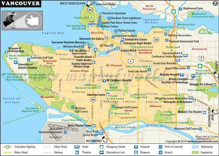 Vancouver points of interest map - Map of vancouver points of interest (British Columbia - Canada)